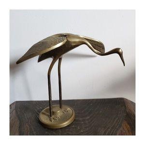 Vintage Brass Crane Figurine